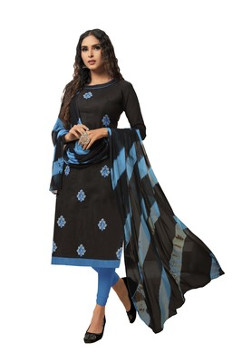 Black embroidered silk blend salwar