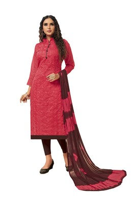 Pink embroidered silk blend salwar