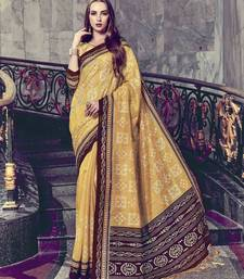 Yellow Color Silk FOIL PRINT Party wear Saree with Unstitched Blouse