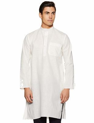 Beige plain cotton men-kurtas