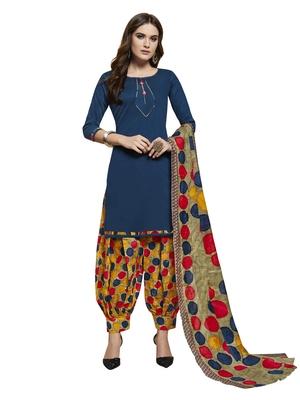 Navy-blue printed cotton salwar