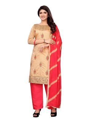 Beige embroidered chanderi silk salwar