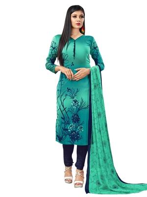 Turquoise Printed Crepe Salwar