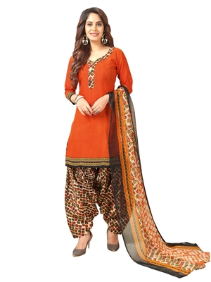 Orange Printed Crepe Salwar