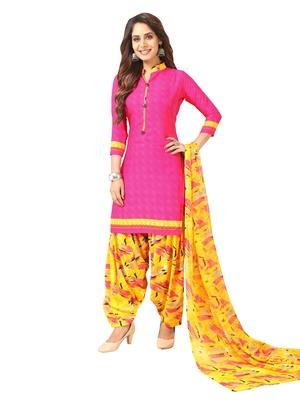 Pink Printed Crepe Salwar
