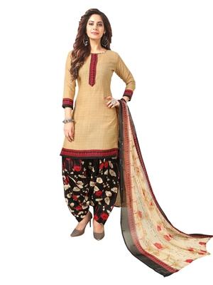 Beige Printed Crepe Salwar