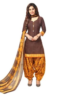 Brown Printed Crepe Salwar