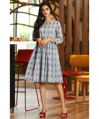 BLUISH GREY IKKAT DRESS