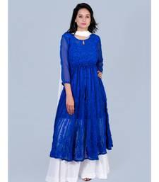 Chikankari Aari Work Blue Anarkali Kurti