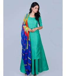 Silk Green Kurti with Skirt and Shibori Blue Duppatta