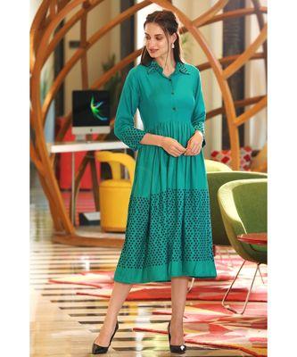 green POLKA DRESS