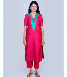 Fuschsia Pink Silk Kurti with Green Neck Line paired with Pink Trouser