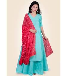 Sea Green Silk Kurti paired with Skirt & Red Silk Bhandhej Duppatta