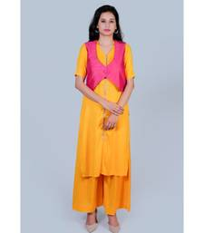 Yellow Straight Gotta Kurti with palazzo and Pink Koty