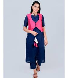 Blue Silk Kurti Tassels on Neck paired with palazzo and Pink Koty