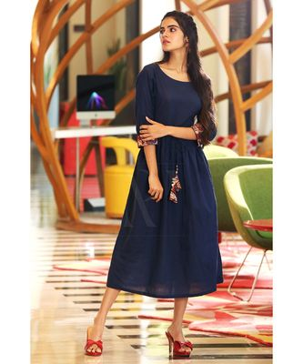 NAVY BLUE PRINTED PLACKET DRESS