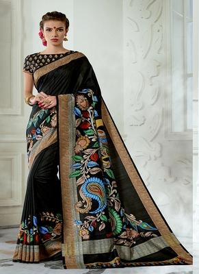 Black printed tussar silk blend saree with blouse