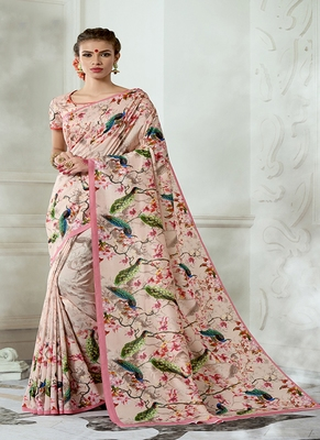 baby pink printed tussar silk blend saree with blouse