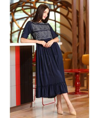 NAVY BLUE PLEATED YOKE TUNIC