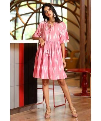 PINK IKKAT DESIGNED DRESS