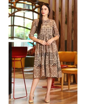BEIGE TUNIC WITH BROWN MUGHAL ARCHITECTURE PRINTS