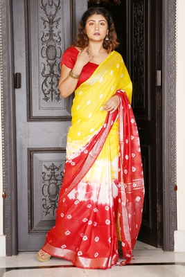 YELLOW AND RED TIE & DYE BANDHANI PRINTED LINEN SAREE