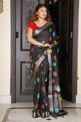 BLACK LINEN SAREE WITH MULTICOLORED BANDHANI PRINT AND SILVER BORDER