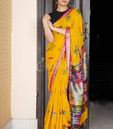 YELLOW BUTTERFLY PRINTED LINEN SAREE WITH DEEP PINK ZARI BORDER