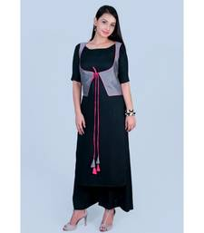 Black Rayon Boat Neck Kurti paired with palazzo and Silk Grey Koty
