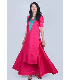 Fuschsia Pink Silk Kurti with Green Neck Line and paired with Skirt