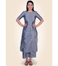 Grey Silk Kurti paired with palazzo