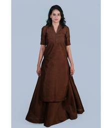 Choclate Brown Silk Kurti with Skirt