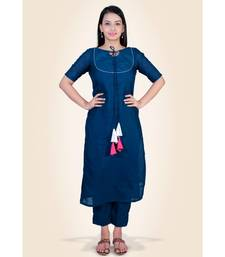 Blue Silk Kurti paired with Trousers