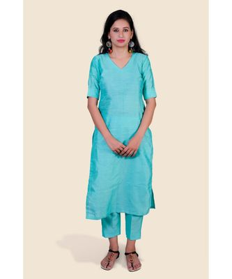 sea-green plain silk kurta-sets