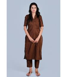 Choclate Brown Silk Kurti paired with Trousers