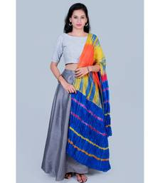 Grey Blouse paired with Grey Skirt and Blue Shibori Duppatta