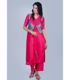 Fuschsia Pink Silk V Neck Kurti paired with palazzo and Grey Koty