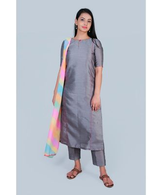 grey art silk suit paired with leharia duppatta