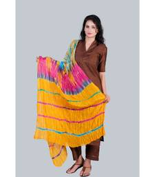 Choclate Brown Silk Kurti paired with Trousers and Yellow Shobori Duppatta