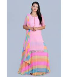 Pink Short Kurti paired with Rainbow Lehariya Skirt and Rainbow Lehariya Duppatta
