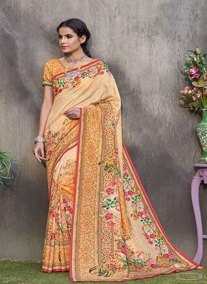 light orange printed tussar silk blend saree with blouse