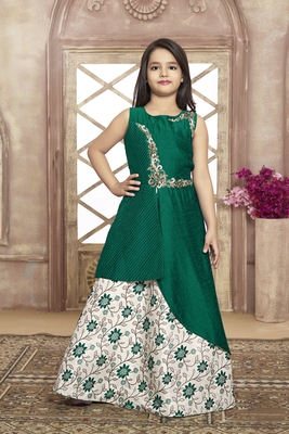 green embroidered jaquard stitched kids girl gowns