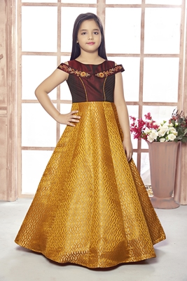 gold embroidered Polyester stitched kids girl gowns