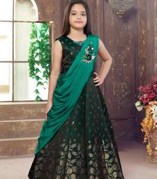 green embroidered Polyester stitched kids girl gowns