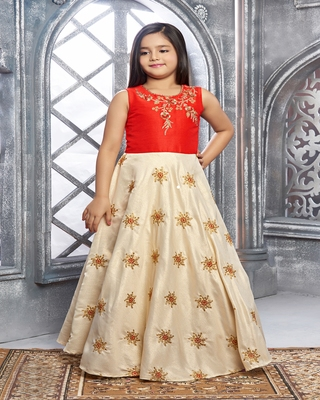 red embroidered Polyester stitched kids girl gowns