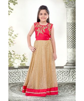 rani pink embroidered Net stitched kids girl gowns