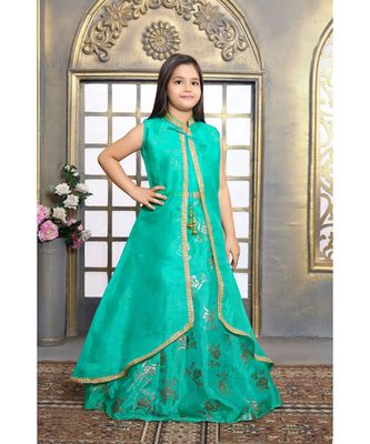 green embroidered Net stitched kids girl gowns