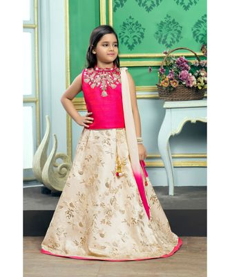 Cream embroidered Polyester Stitched kids lehenga choli