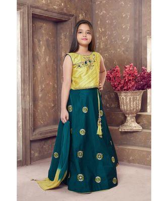 Green Embroidered Polyester Stitched kids lehenga choli