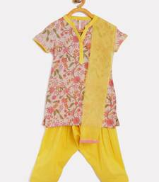 Pink Cotton salwar suit with dupatts for girls